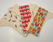 SALE - Three Sock MonkeyOrganic Fitted Flannel Cloth Diapers