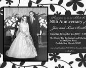Custom Photo Floral Wedding Anniversary Invitation