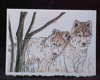 Wolf Card Blank Greeting Note Card with Envelope