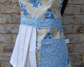 Blue and Tan Floral Apron