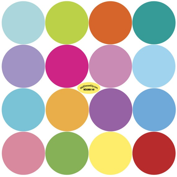 Sixteen Colors Polka Dot Wall Decals Removable and Reusable