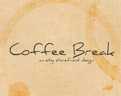 SALE - Etsy Banner Storefront Design - 10 Piece OOAK Premade Set - Biege Paper - Coffee Break