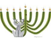 Hanukkah Cat Card- Cat Card- Greeting Card- Whimsical Cat Art Cards- Hanukkah Card- Saguaro Menorah- by beckyzimm