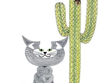 Cat Art Cards- State of Arizona C-Cat Card by beckyzimm