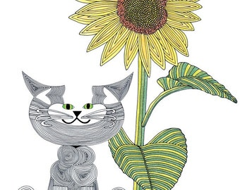 Cat Art Cards- Whimsical Cat Art- State of Kansas- Sunflower painting- by beckyzimm