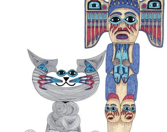 Cat Art Cards- Cat Totem- Whimsical Cat Art- State of Alaska- by beckyzimm
