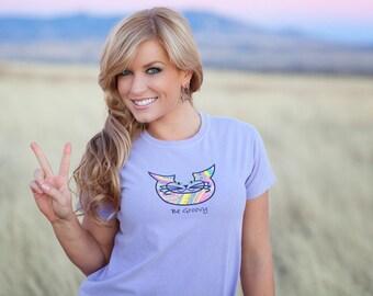 Whimsical Cat Art T-shirts- Funny Cat Art- Original Cat Art- Be Groovy- by beckyzimm