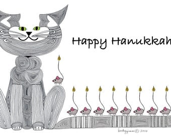 Hanukkah Card- Cat Card- Greeting Card- Cat Art Cards- Menorah- Holiday Card- Whimsical Cat Art- by beckyzimm