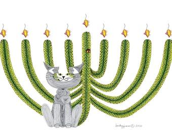 Hanukkah Cat Card- Cat Card- Greeting Card- Whimsical Cat Art Cards- Hanukkah Card- Saguaro Menorah- by beckyzimm