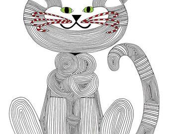 Christmas Card- Cat Art Card- Cat Art- Cat Illustration- Cat Drawing- Cat Lover- Crazy Cat Lady- Candy Cane Cat- Original Art- by beckyzimm