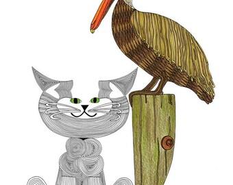 Cat Art Cards- Whimsical Cat Art- Original Cat Art- State of Louisiana- by beckyzimm