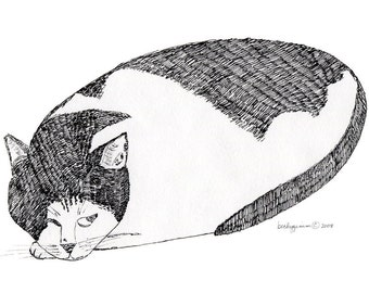 Cat Art Cards- Parky the Blind Cat 5x7 Card by beckyzimm