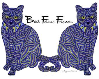 Cat Art Cards- Best Feline Friends 5x7 Card by beckyzimm