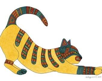 Cat Art Cards- Stretch 5x7 Card by beckyzimm