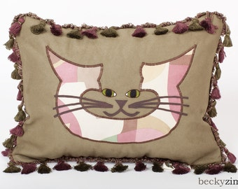Cat face Pillow- Purple Passion Pillow by beckyzimm design