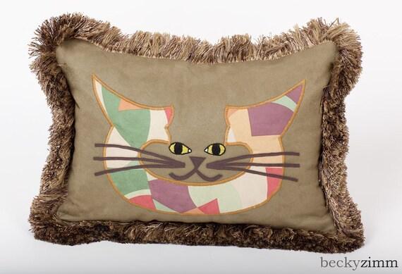 Cat face Pillow- Sage Brush Pillow by beckyzimm design