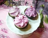 Trio of Faux Mini Cupcakes in Pink