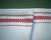 Country Charm Collection---Organic White Huck Toweling with Small Red Checks