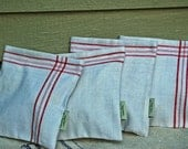 Country Charm Collection---Organic Dove and Red Stripe Linen
