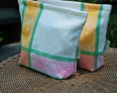 Tea Time--Large Vintage Linen Tea Towel  Lunch-Sandwich-Storage  Bag Lined