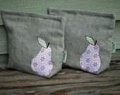 Organic Linen Sandwich Bag---Vintage Floral Bartlett Pear