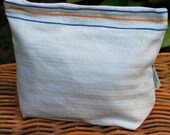 Vintage Linen Storage Bag with French Blue and Yellow Stripes