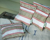 Vintage Organic Linen Tea Towel Sandwich Bag--Lined --Cream-Red-Oatmeal