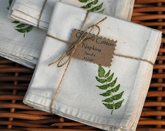 Organic Cotton Napkins--Green Fern Hand Ink Stamped (Set of 4)