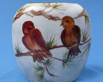 Free Style Birds and Pinecone Vase