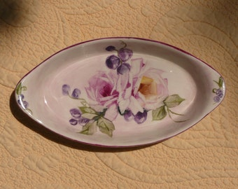 Pink Roses and Berries on Vintage Buffalo Ware