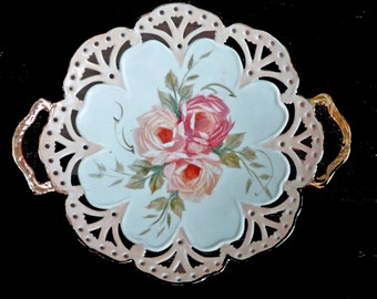 Fancy Pierced Dish with Peach Roses