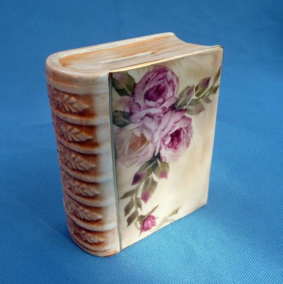 Hold for Locutte - Hand Painted Pink Rose Porcelain Book Bank