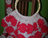 Flower Cotton Japanese or Irish crochet large Bamboo Handle lined Bag organizer pockets red or navy burgandy mix or Set of Bamboo Handles