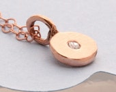 14K Rose Gold coin With Diamond Necklace
