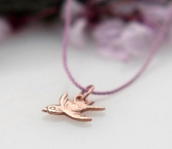 Gold Charm Necklace, 14K Gold Charm, Animal Charm, , Bird Charm Pendent, Petite.