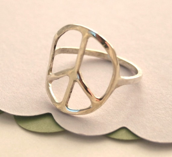 Silver Peace Sign Ring, Peace Ring, Silver Ring.