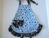 Girls Full Apron with Ruffle in Blue Hill Berkshire Fabric