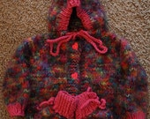 Hand Knits Hooded Baby Sweater with booties 6-12 months