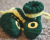 Handmade Knitted Oregon Ducks Baby Booties made to order