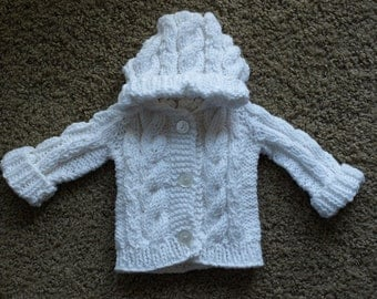 Hooded Cable Knit Baby Sweater Made to Order