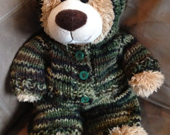 Handmade 16-18 inch Build a Bear Hooded Camo Sweater with pants