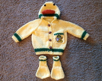 Hand knit Oregon ducks baby Sweater with duck hood and duck booties Made to Order