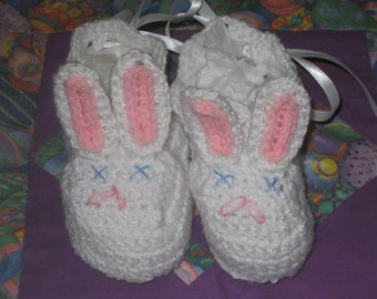 Hand made Crochet Bunny Rabbit Baby Booties Made to Order