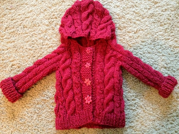 Hooded Cable Knit Baby Sweater Made To Order 0 12 Months
