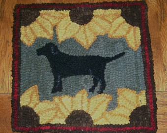 BLACK LABRADOR DOG Complete Primitive Rug Hooking Kit or Pattern