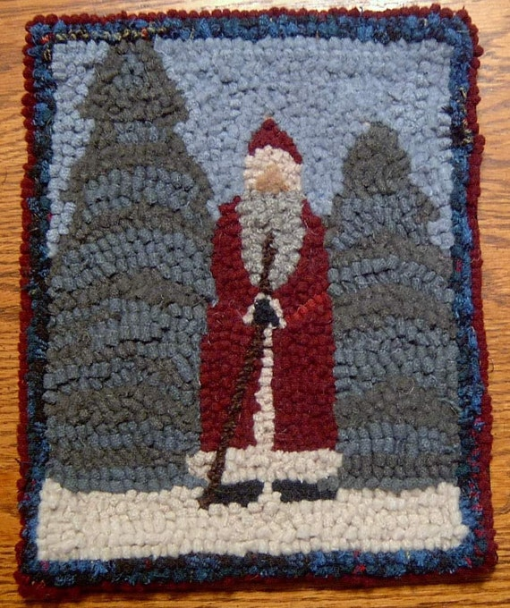 OLD TIME FATHER CHRISTMAS Primitive Rug Hooking Kit And Hook