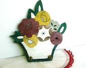 Vintage Folk Art Wood Rack Flower Basket