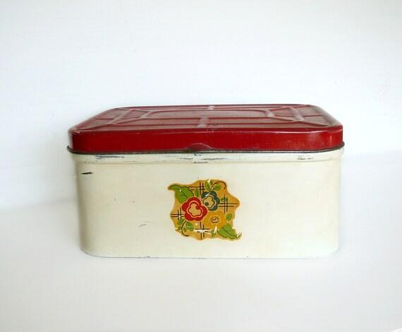 Vintage Bread Box Metal Floral Decal