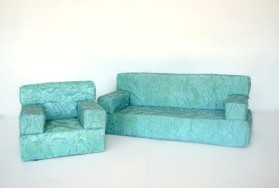 Vintage Doll Furniture Sofa and Chair Set