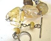 Yellow Bracelet, Golden Gem Bracelet, Oxidized Sterling Wire Wrapped Citrine Jasper Gemstone Bracelet